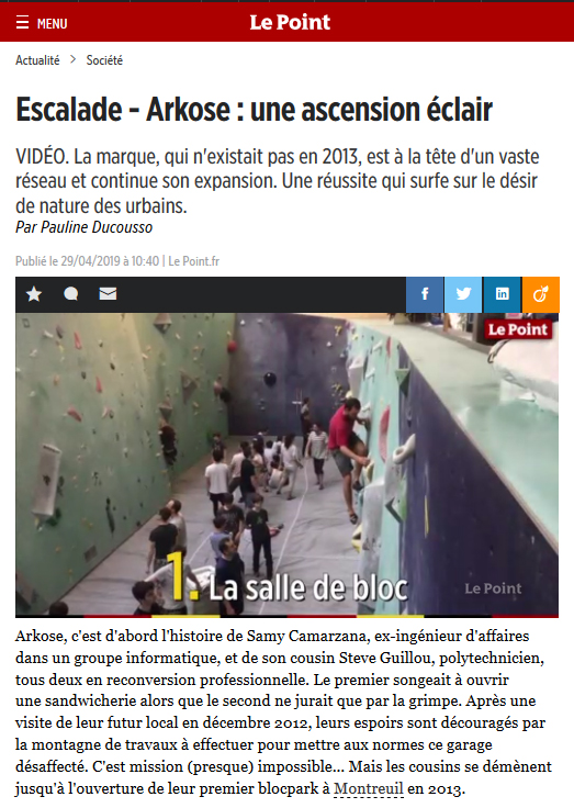 Article Le Point Arkose 29 04 2019